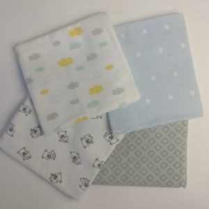 Lot of 4 Baby Receiving Blankets /Swaddle Blankets
